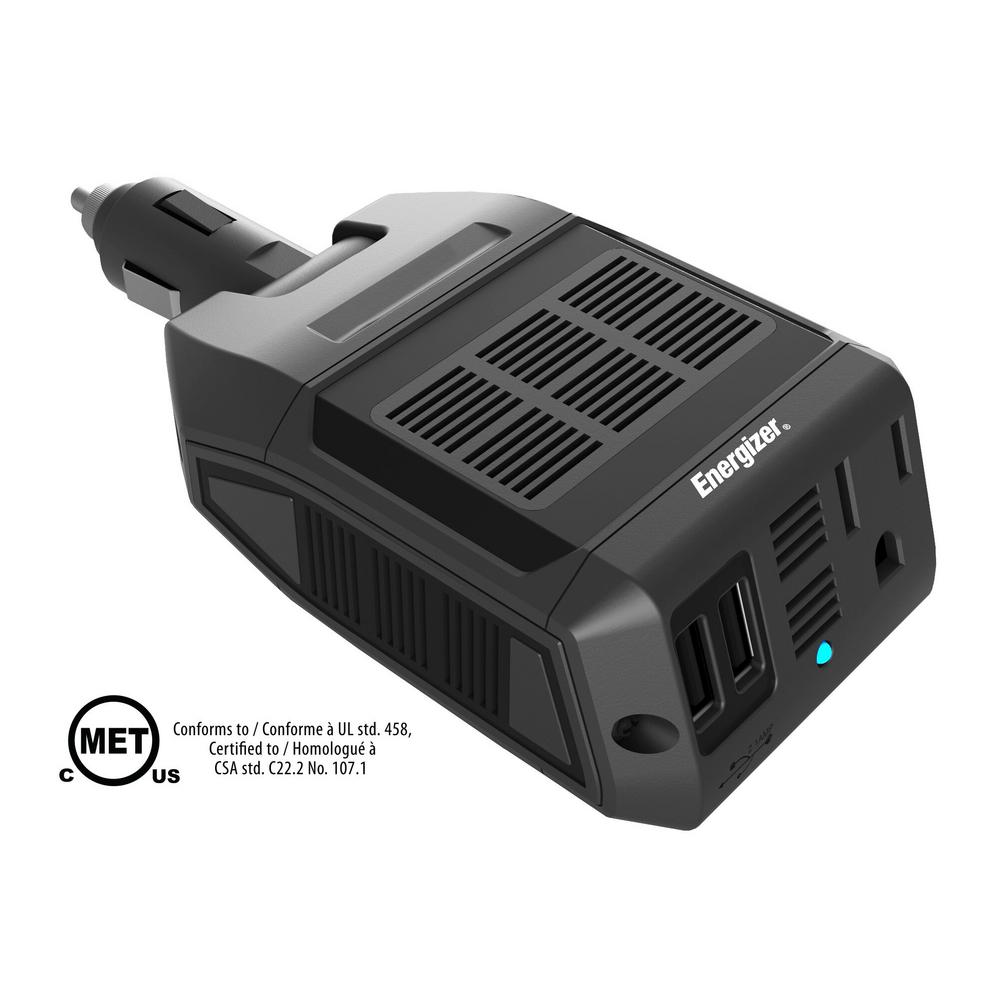 Energizer 12v 100 Watt Power Inverter En100 The Home Depot And Battery Low Voltage Protection Short Circuit Protectionin Car