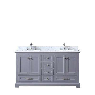 Dukes 60 in. Double Vanity Dark Grey, White Carrera Marble Top, White Square Sinks and no Mirror