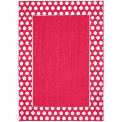 Polka Dot Frame Pink White 5 Ft X 7 Area Rug