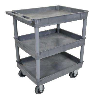 24 in. x 32 in. 3-Tub Shelf Plastic Utility Cart with 6 in. Semi-Pneumatic Casters, Gray
