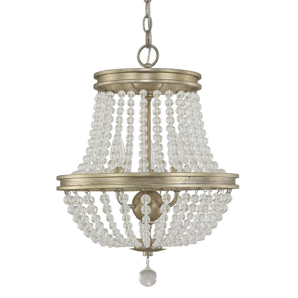 Inexpensive Red Chandelier: Austin Allen & Co. 3-Light Iced Gold Chandelier-9A125A