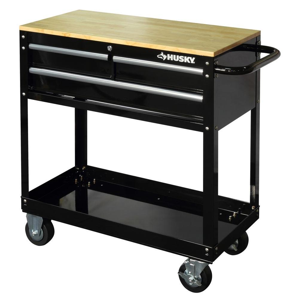 3 Drawer Rolling Tool Cart With Wood Top, Black