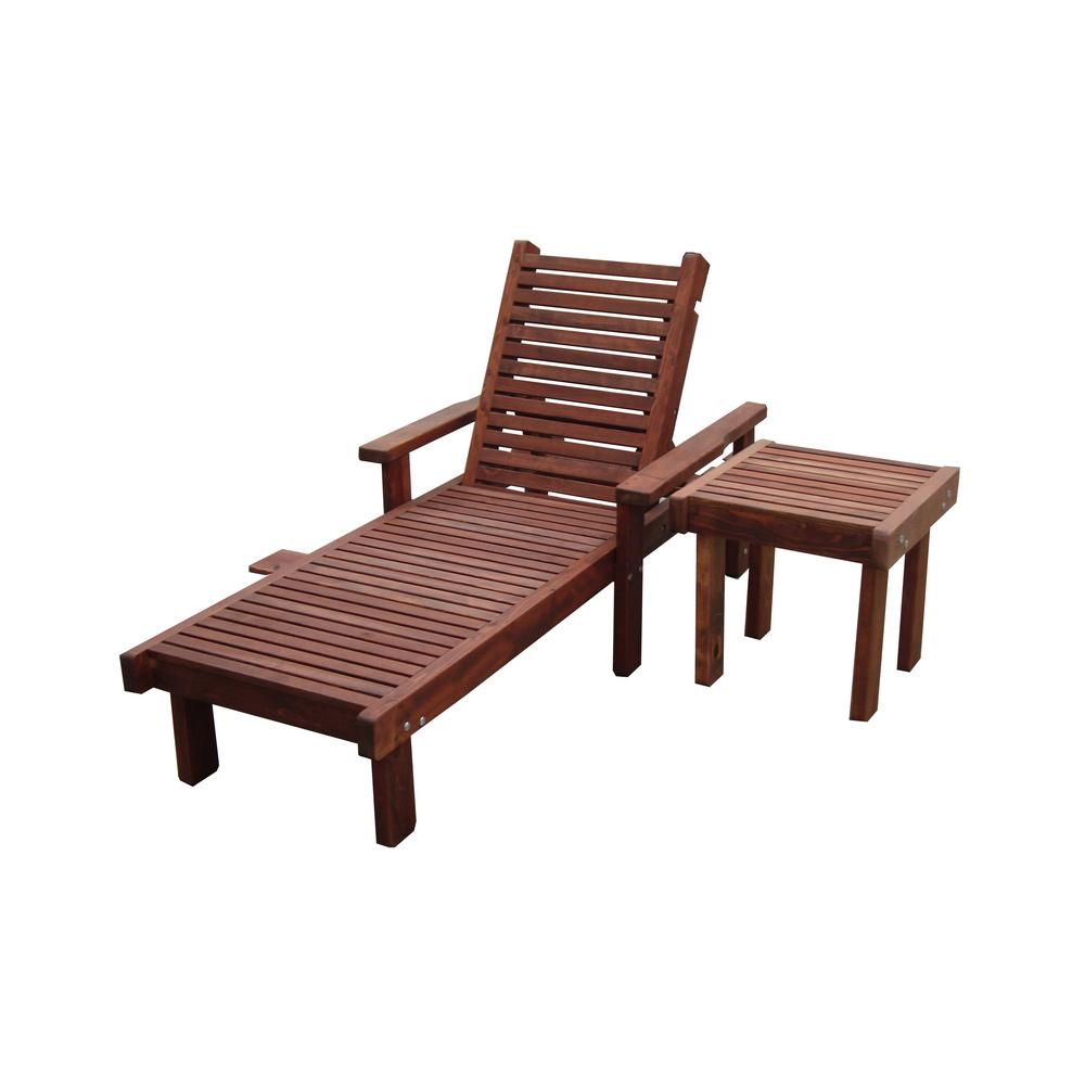 Mission Brown Finish Redwood Outdoor Chaise Lounge