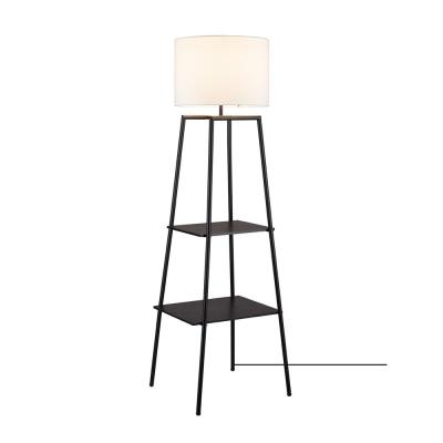 Collins 61 in. Dark Walnut Finish Shelf Floor Lamp with CEC Title 20 LED Bulb Included