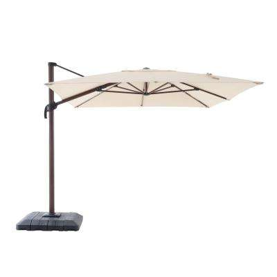 10 ft. x 12 ft. Aluminum Rectangle Offset Cantilever Patio Umbrella in Cafe