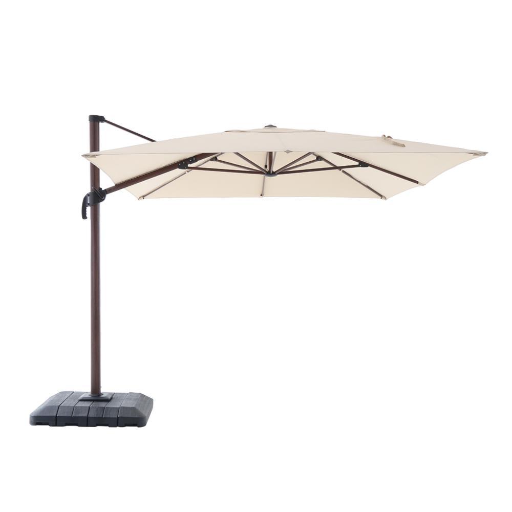 Aluminum Rectangle Offset Cantilever Patio Umbrella In Cafe