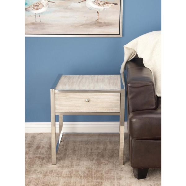 Litton Lane Modern Contemporary Wood and Stainless Steel Side Table In