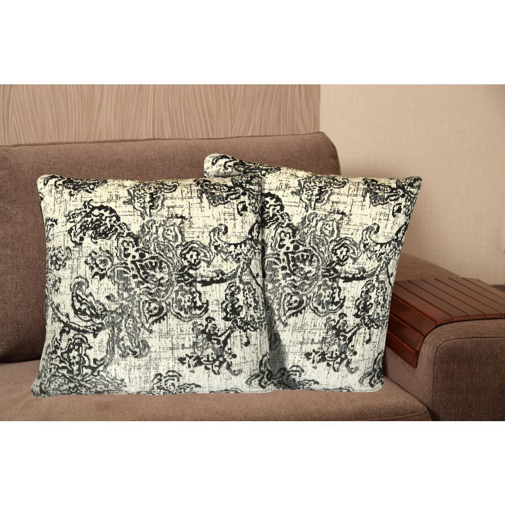 chenille 20 in gray decorative pillow