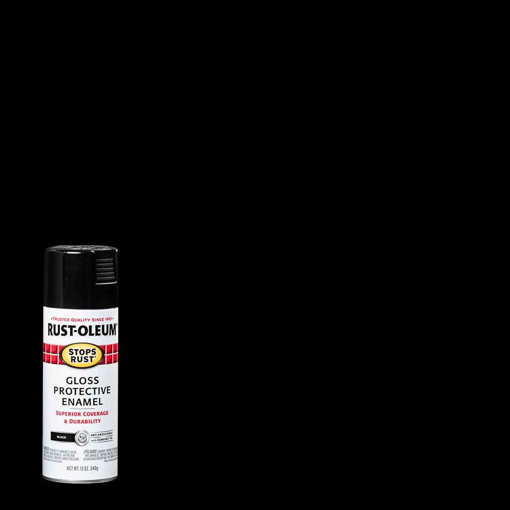 Rust-Oleum Stops Rust 12 oz. Protective Enamel Gloss Black Spray Paint