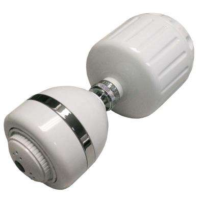High-Output 3-Spray 4 in. Fixed Shower Head with Filter in White