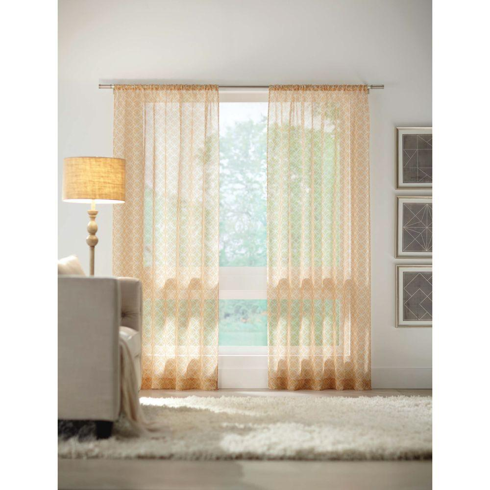 Home decorators collection sheer gold rod pocket printed sheer curtain 52 in w x 84 in l Home decorators collection valance