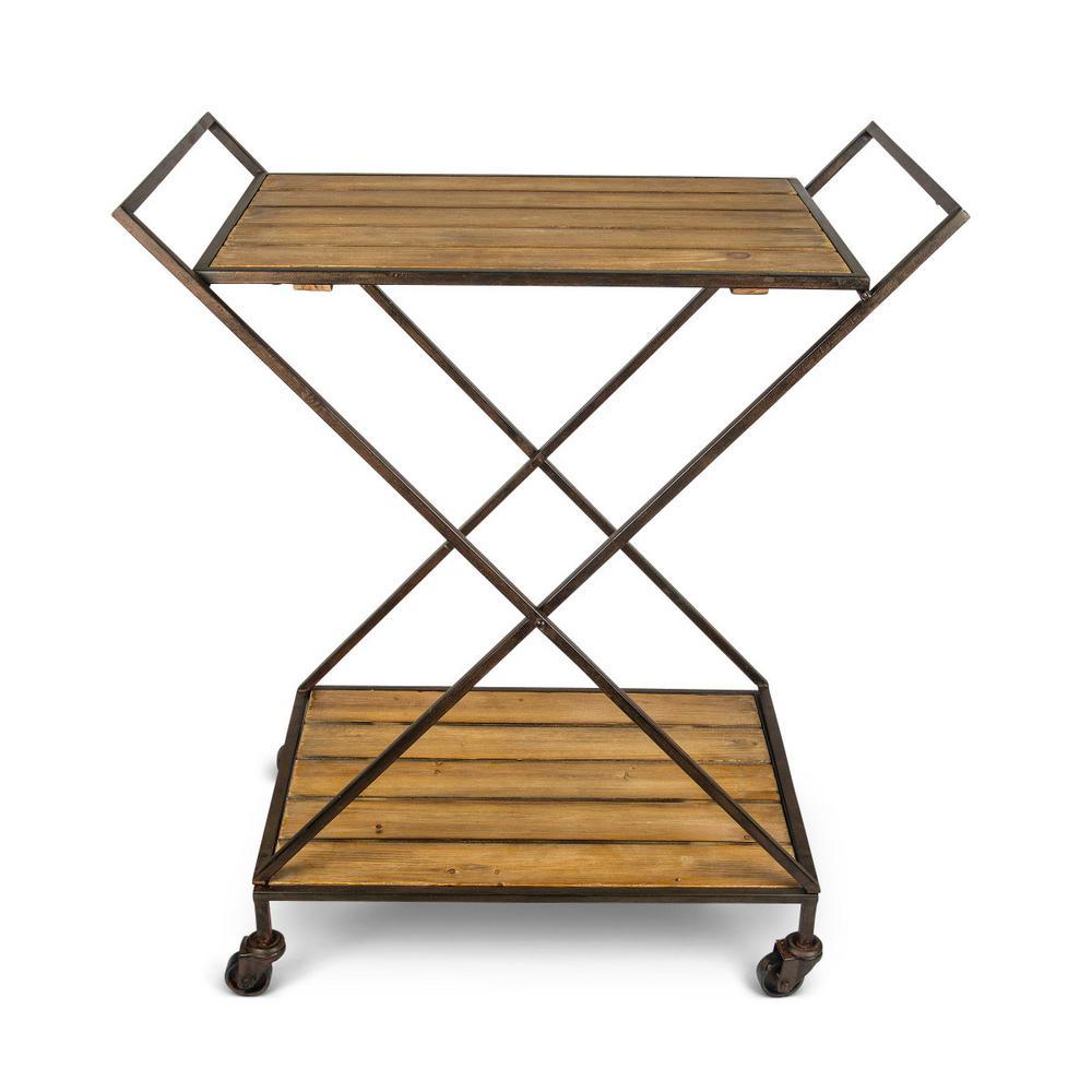 Bar Cart 34.3 in. H Brown Metal and Wood