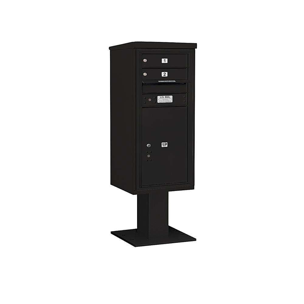 3400 Horizontal Series 2-Compartment 1-Parcel Locker Pedestal Mount Mailbox