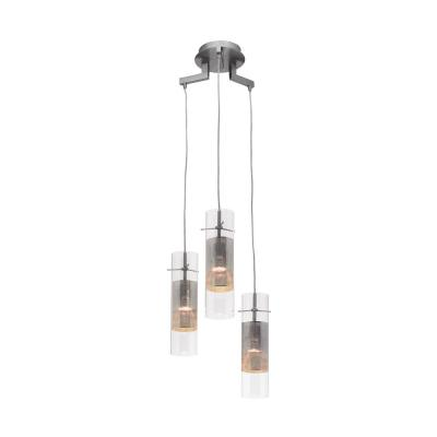 Spartan 3-Light Brushed Steel Pendant with Metal Mesh in Clear Glass Glass Shade