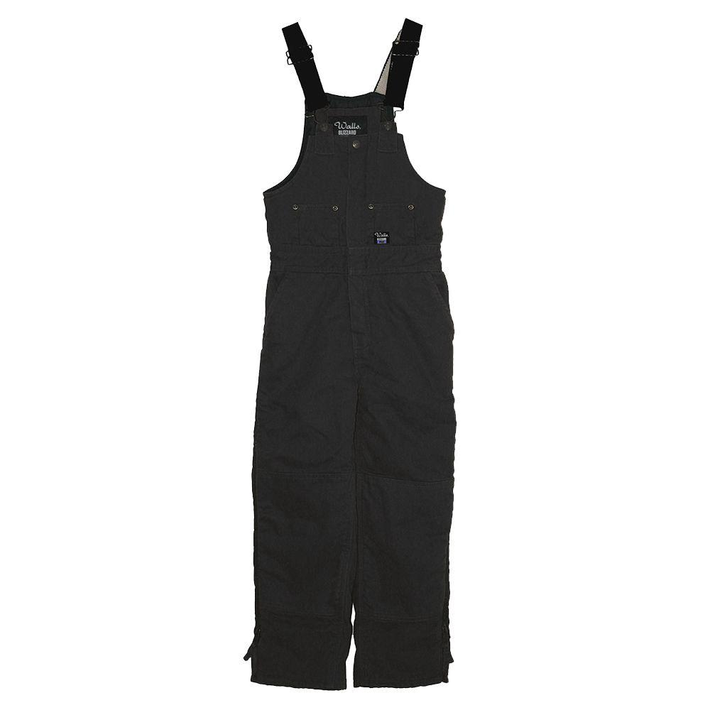 Walls Heavyweight Duck Insulated Extra Large Regular Bib Overall in Black