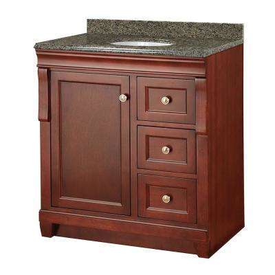 Naples 31 in. W x 22 in. D Vanity in Tobacco with Granite Vanity Top in Quadro with White Sink