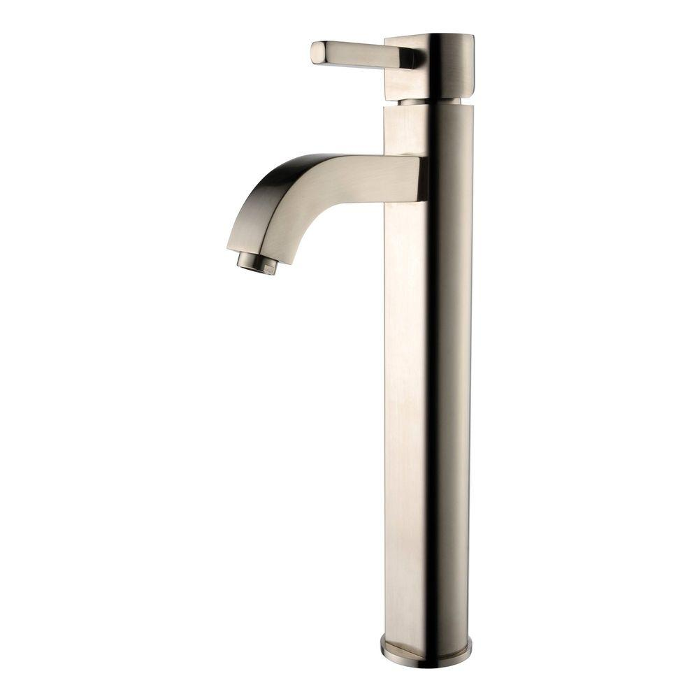 Kraus ramus single hole single handle vessel bathroom faucet in satin nickel fvs 1007sn the for Home depot bathroom sink faucets