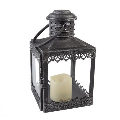 Eva 12 in. Antique Pewter LED Candle Lantern
