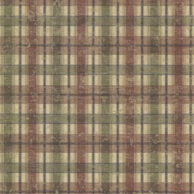 Nellie Brick Wooden Plaid Wallpaper