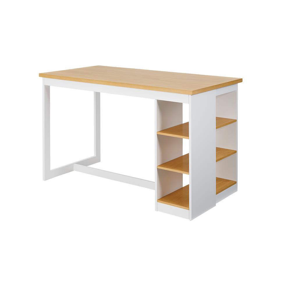 Christy Oak/White Counter Storage Table