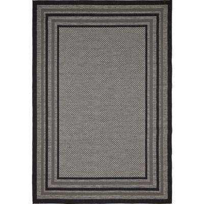 Outdoor Multi Border Gray 6' 0 x 9' 0 Area Rug