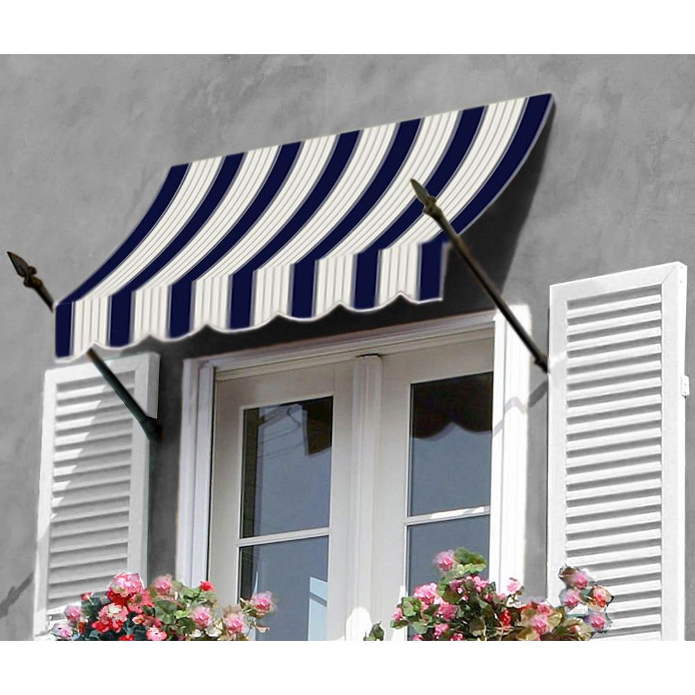 AWNTECH 12 ft. New Orleans Awning (31 in. H x 16 in. D) in Navy/Gray/White Stripe