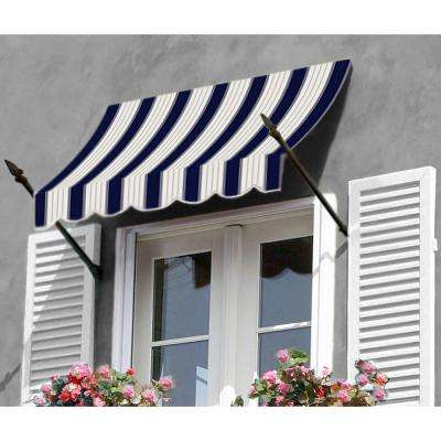 18 ft. New Orleans Awning (31 in. H x 16 in. D) in Navy/Gray/White Stripe