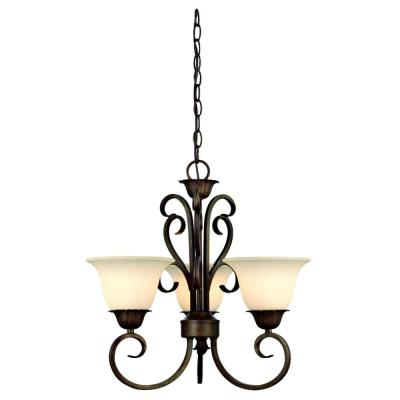 Regal Springs 3-Light Ebony Gold Chandelier
