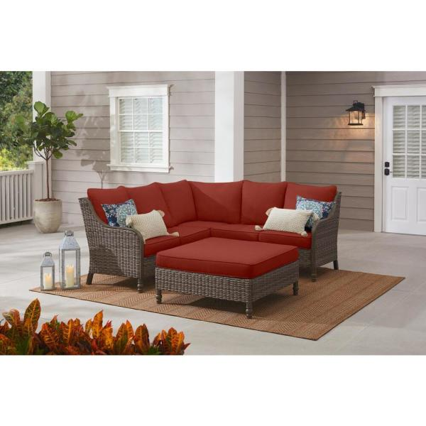 Windsor 4-Piece Brown Wicker Outdoor Patio Sectional Sofa with Ottoman and Sunbrella Henna Red Cushions