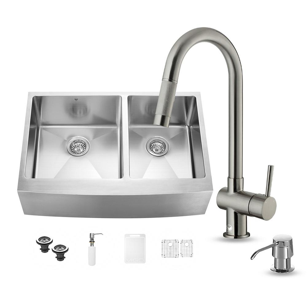 VIGO All-in-One Farmhouse Apron Front Stainless Steel 33 in. Double Basin Kitchen Sink in Stainless Steel