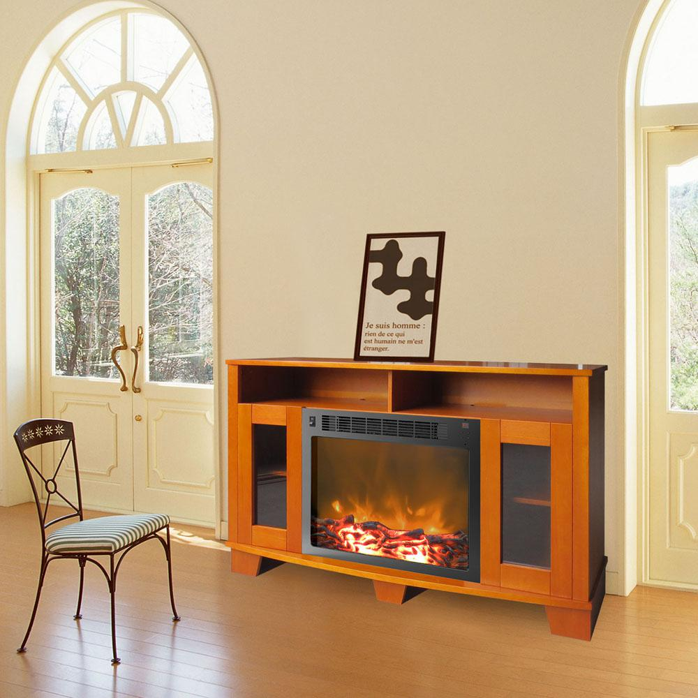 Savona 59 in. Electric Fireplace in Teak (Brown)