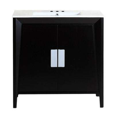 Clara 36 in. W x 18 in. D x 33 in. H Single Vanity in Dark Espresso with Ceramic Vanity Top in White with White Basin