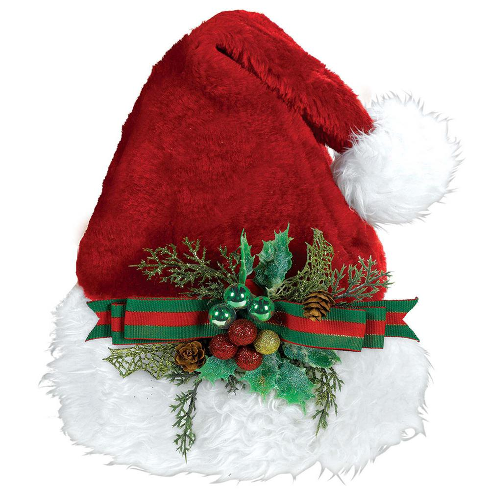 15 in. x 11 in. Santa Christmas Deluxe Hat with Holly