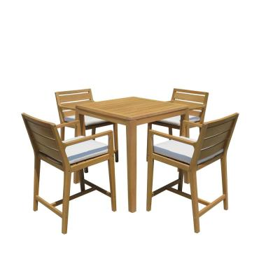Lautan Bronte 5-pc Wood Outdoor Bar Height Dining Set w/ Black Cushions and Inset Cooler