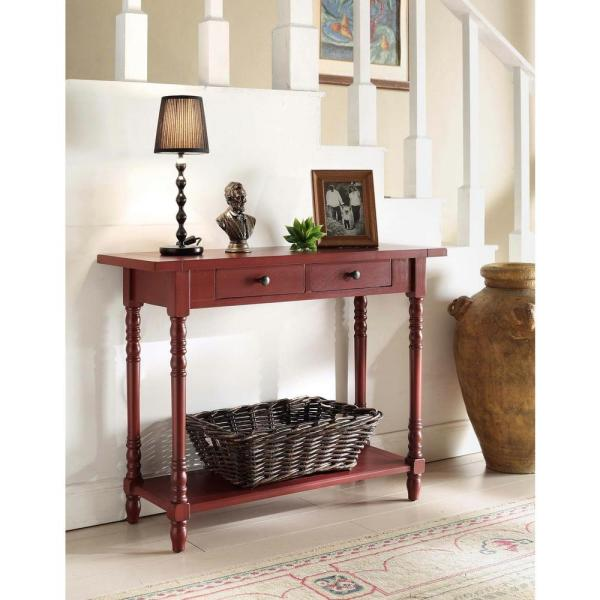 4D Concepts Simplicity Cottage Red Storage Console Table 570779