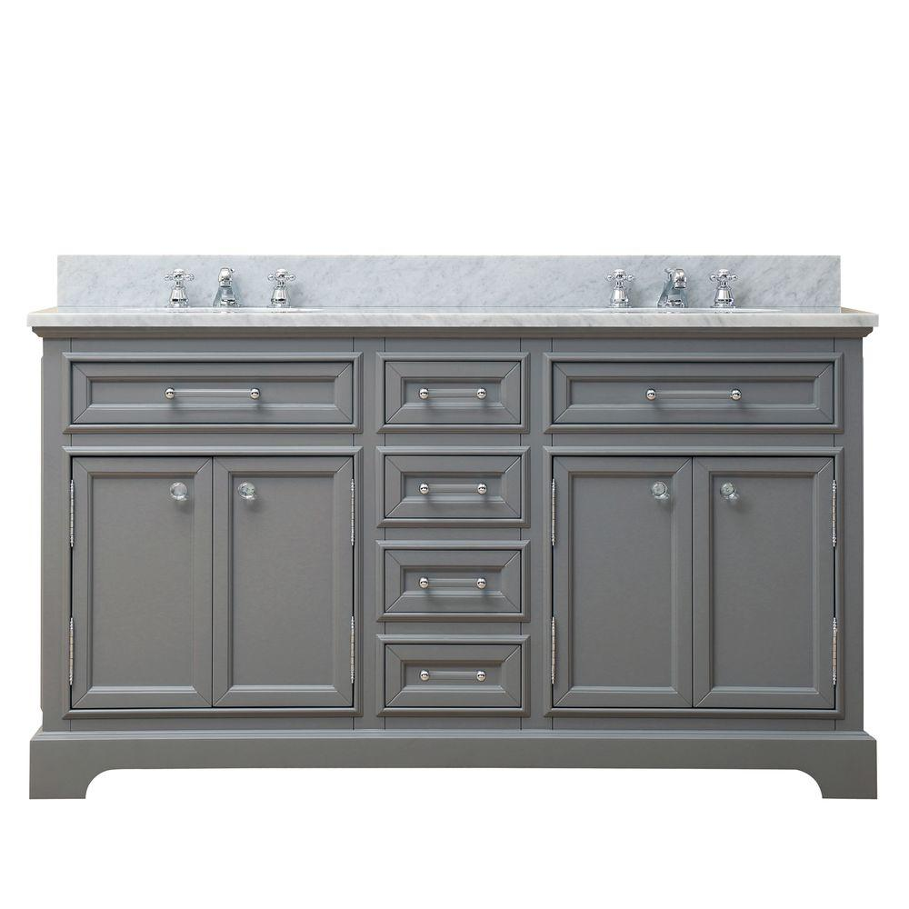 Water Creation 60 in. W x 21.5 in. D x 34 in. H Vanity in Cashmere Grey with Marble Vanity Top in Carrara White