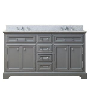Water Creation 60 inch W x 21.5 inch D x 34 inch H Vanity in Cashmere Grey with Marble... by Water Creation