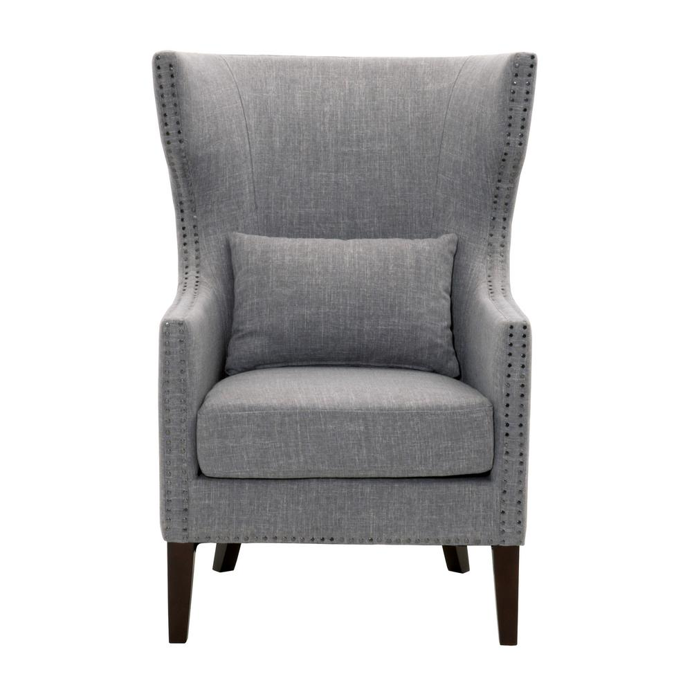 Ordinaire Home Decorators Collection Bentley Smoke Grey Linen Upholstered Arm Chair
