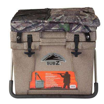 23 Qt. Tan Hard Cooler with Removable Soft Cushion Camo Seat