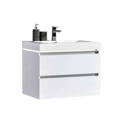 Maui 30 in. W x 18.5 in. D LED Illuminated Bathroom Vanity in White with Acrylic Vanity Top in White with White Basin