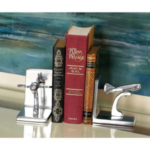 5 inch x 5 inch Silver Jet Bookends (Set of 2) by