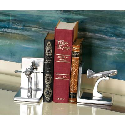 5 in. x 5 in. Silver Jet Bookends (Set of 2)