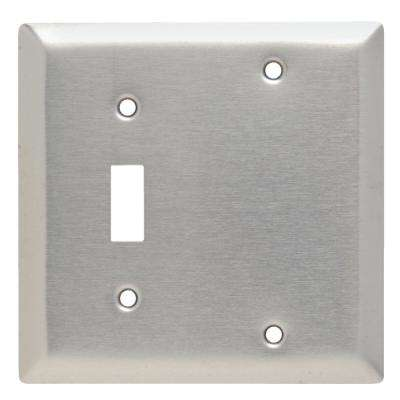 302 Series 2-Gang Toggle/Blank Combination Wall Plate in Stainless Steel