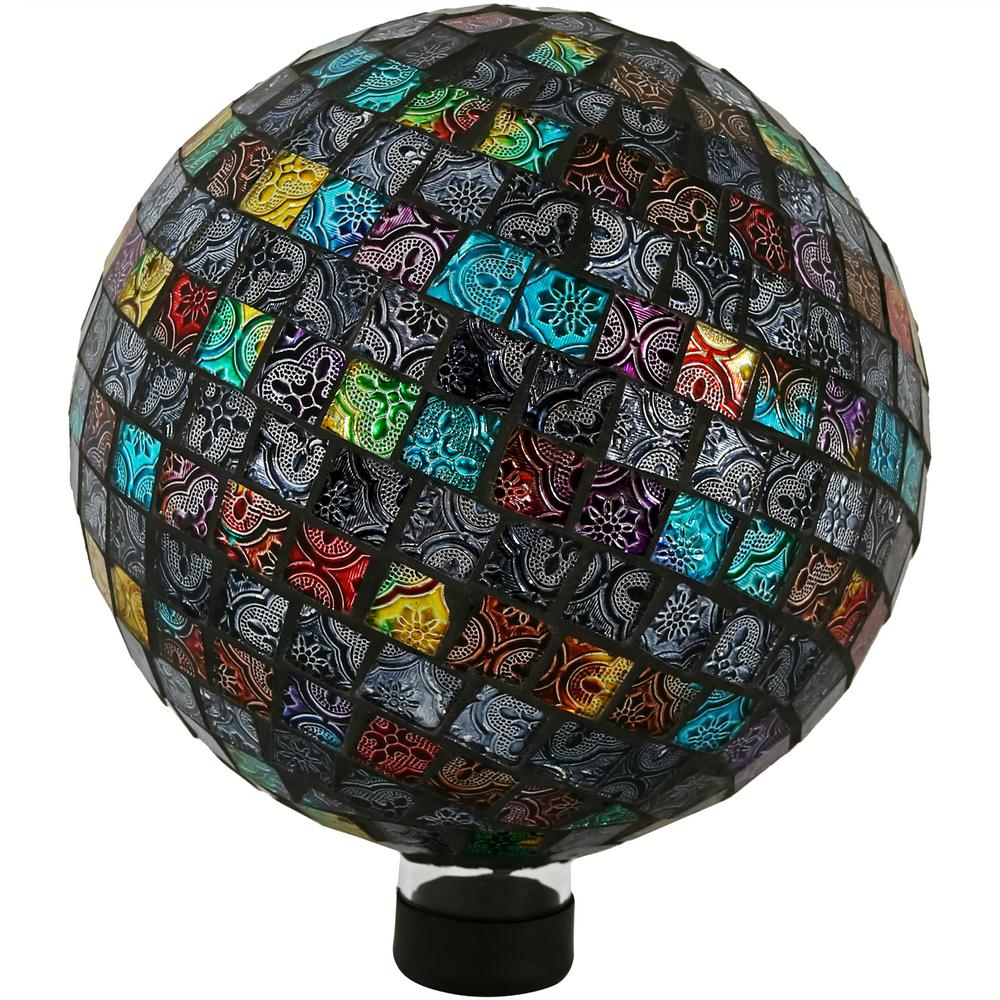 Sunnydaze Decor 10 in. Multi-Colored Tiled Mosaic Outdoor Garden Gazing Globe Ball Add a backyard accent to any patio or garden with this outdoor gazing ball globe. Made of glass, this gazing globe features a colorful mosaic of tiles. On a bright sunny day, this decorative ball will beautifully reflect sunlight for added visual interest. The bottom of the gazing globe is stemmed with a rubber cap, so it's easier to display in a stand (please note, a stand is not included with this globe, stand must be purchased separately). Always store gazing globe indoors before freezing weather occurs to better ensure its longevity.