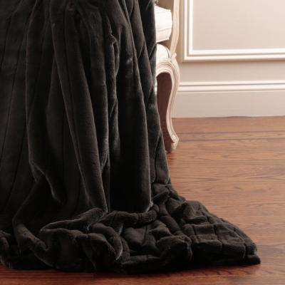Luxe Faux Mink Fur 84 in. L Chocolate Throw
