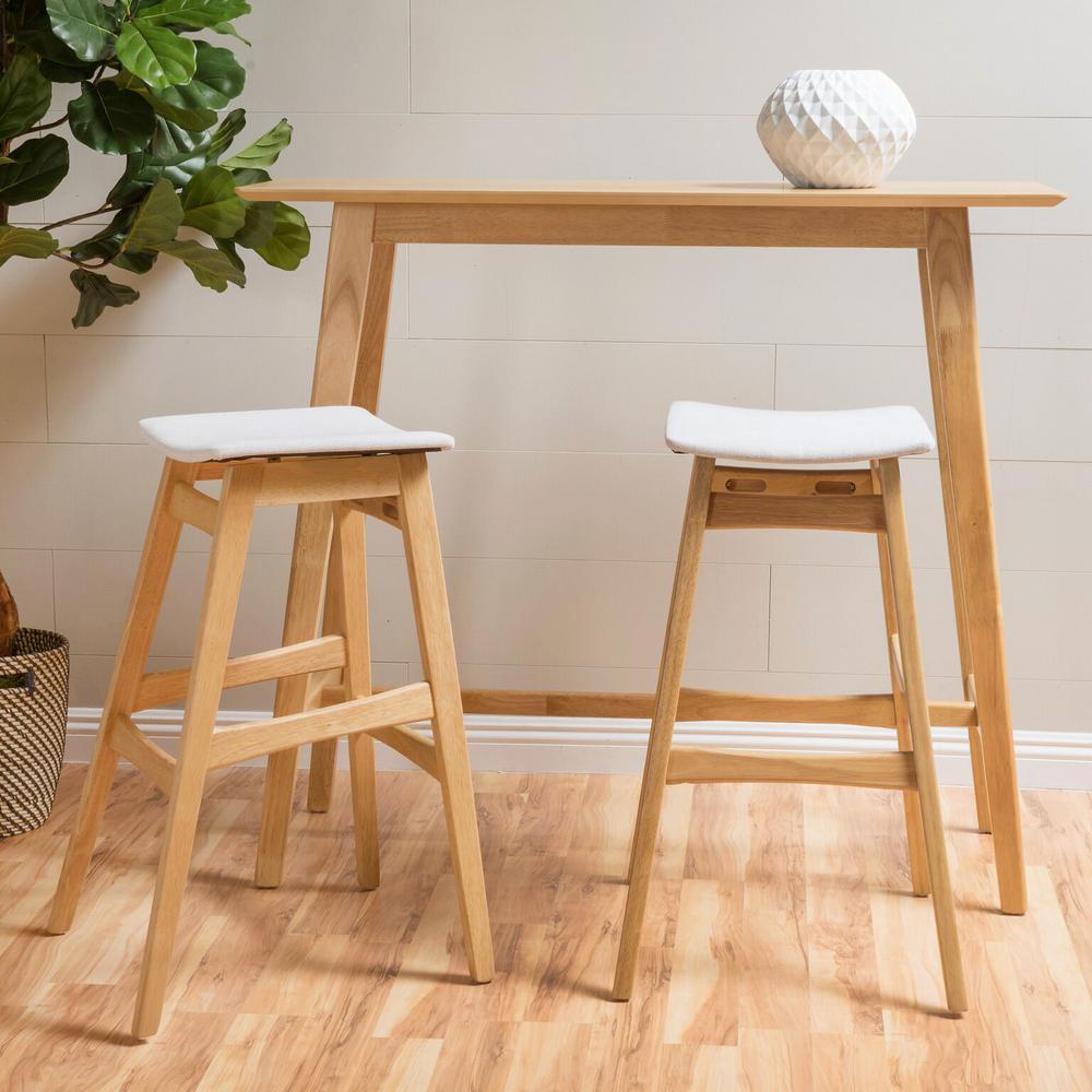 3-Piece Natural Oak Wood and Light Beige Fabric Bar Set