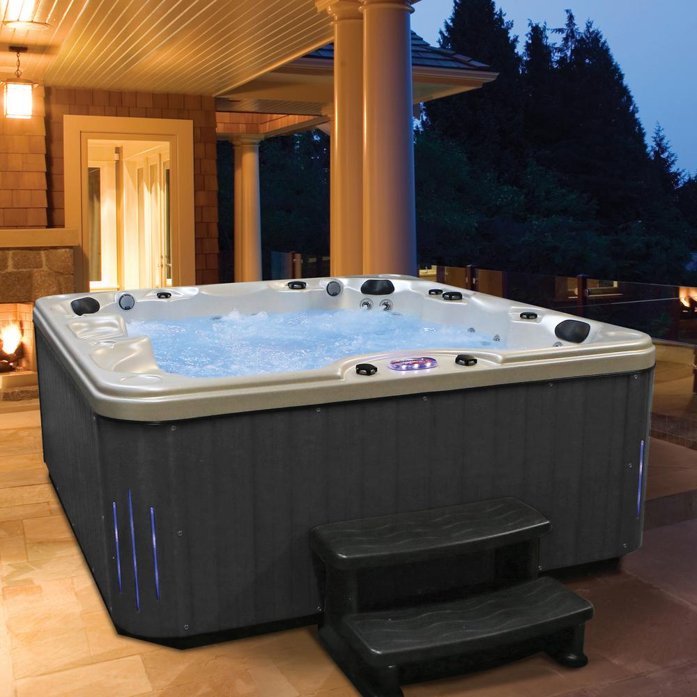 American Spas 6-Person 85-Jet Premium Acrylic Lounger Hot Tub Spa with  Bluetooth Stereo System, Subwoofer and Backlit LED Waterfall