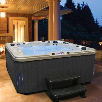 6-Person 85-Jet Premium Acrylic Lounger Hot Tub Spa with Bluetooth Stereo System, Subwoofer and Backlit LED Waterfall