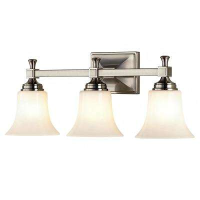 3-Light Satin Nickel Bath Sconce with Opal Glass Shades