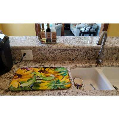 14 in. x 21 in. Multicolor Sunflowers Dish Drying Mat